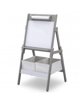 Delta Children Classic Kids Whiteboard/Dry Erase Easel with Paper Roll and Storage, Grey