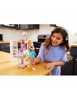 Barbie Supermarket Playset, Blonde Hair, with 25-Grocery Themed Pieces