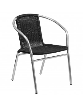 "29"" Black and Gray Contemporary Outdoor Furniture Patio Stackable Chair"