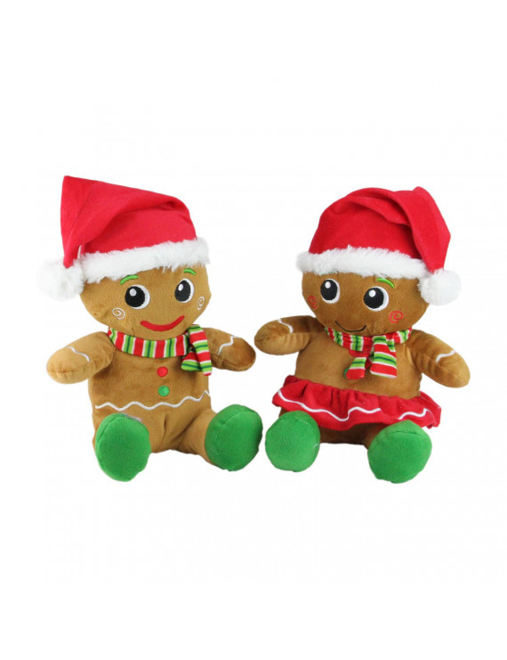 Set of 2 Plush Sitting Gingerbread Boy and Girl Stuffed Christmas Figures 11""