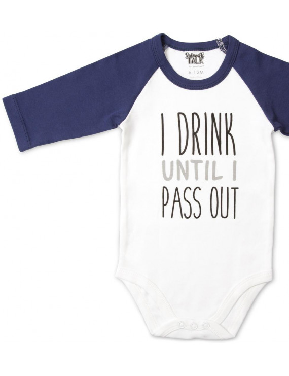 Pavilion  - I Drink Until I Pass Out Unisex Baby 3/4 Long Sleeve Bodysuit 12-24 Months