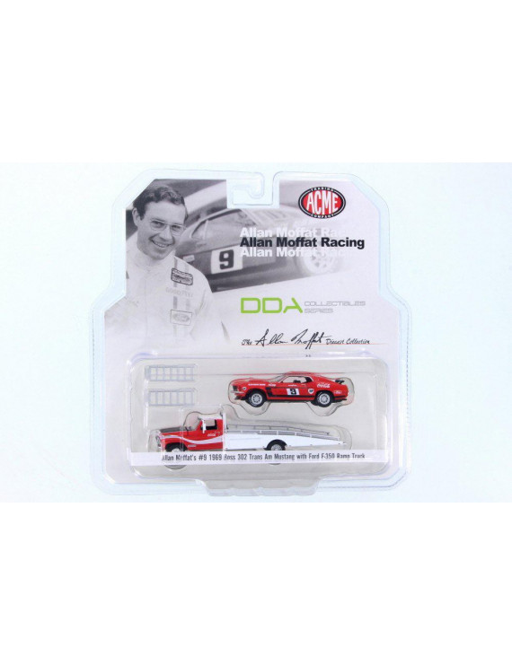 1968 Allan Moffat Racing 1968 Ford F-350 Ramp Truck & 1969 Ford Mustang Boss 302 Trans Am #9 Coca Cola, Red/White - ACME 51139 - 1/64 Scale Diecast Model Toy Car