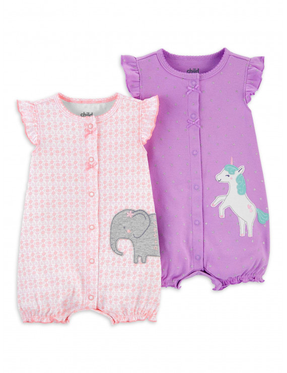 Child of Mine by Carter's Baby Girl Snap Up Romper, 2pk