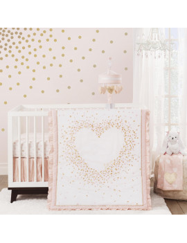 Lambs & Ivy Sweetheart 3-Piece Crib Bedding Set - Pink, Gold, White, Love