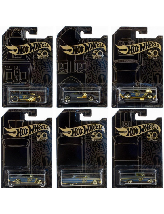 Hot Wheels 50th Anniversary Black & Gold Set of 6 Die-Cast Cars