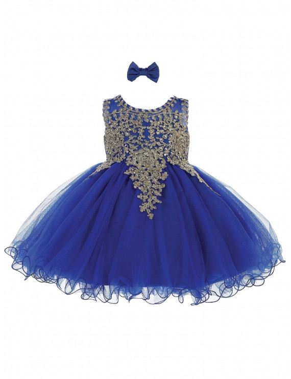 Tip Top Kids Baby Girls Royal Blue Gold Tulle Short Pageant Easter Dress