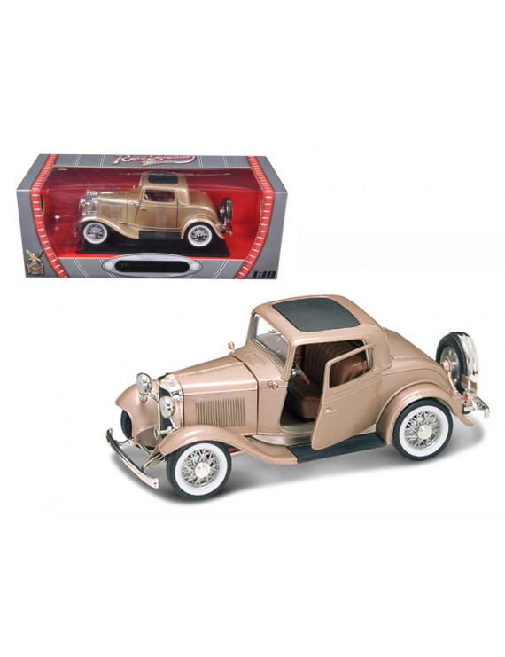 1932 Ford 3 Window Coupe Gold 1/18 Diecast Model Car by Road Signature