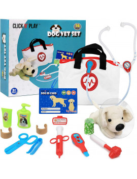 Click N' Play 16 Piece Pretend Play Veterinary Doctor Play Set For Pet Dogs.