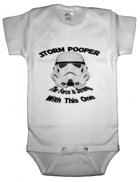 Storm Pooper Funny Baby Romper White Size 3-6 Month