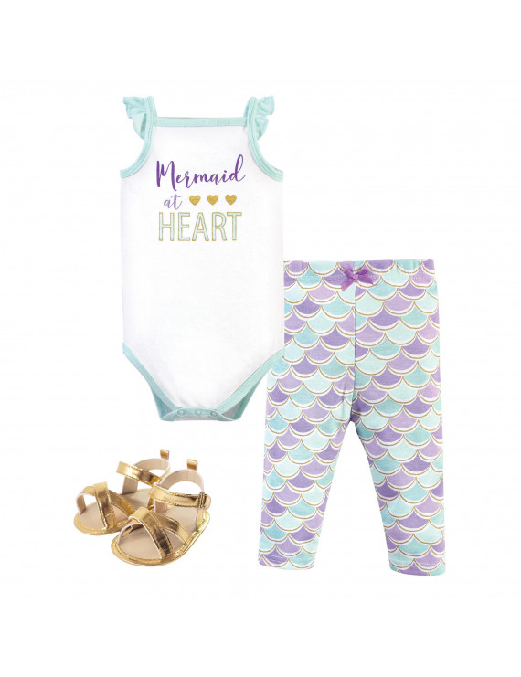 Little Treasure Baby Girl Sleeveless Cotton Bodysuit, Pant and Shoe Outfit Set, 3pc