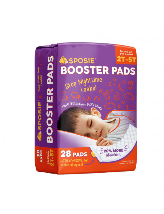 Sposie Overnight Diaper Booster Pads with Adhesive for Pull-on Diapers | Nighttime Leak Protection for Heavy Wetters and Active Sleepers | 28 ct. | Disposable, Universal fit for Boys & Girls