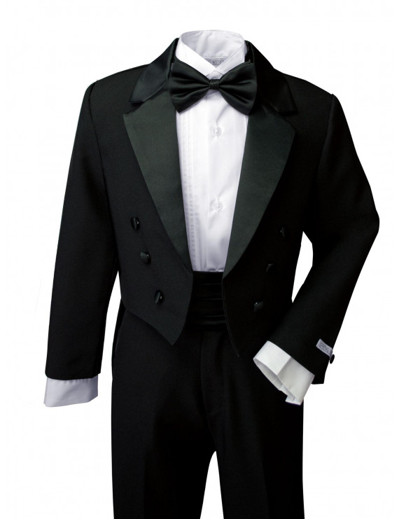 Spring Notion Boys' Classic Tuxedo with Tail Black