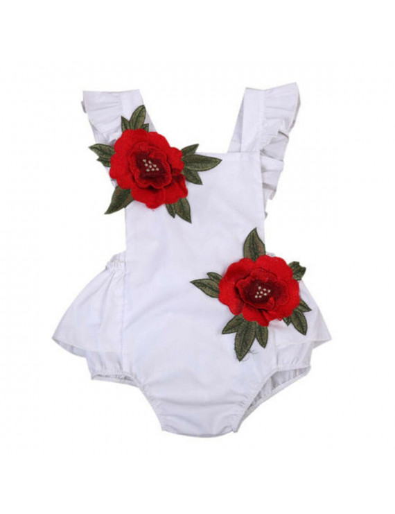Newborn Baby Girls 3D Flower One-Pieces Romper Bodysuit Jumpsuit Outfits Sunsuit