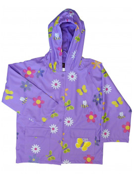 Foxfire Little Girls Purple Floral Butterfly Print Hooded Raincoat 2T-6