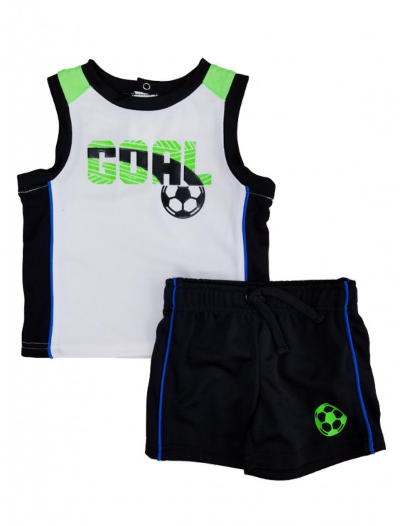 Infant Boys 2 Piece Goal Soccer Athletic Sleeveless Shirt & Shorts Set 3-6m