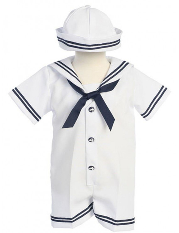 Baby Boys White Navy Sailor Romper Hat Outfit Set 3M-24M