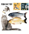 Willstar Moving Cat Kicker Fish Toy with Realistic Flopping Fish for Cat Exercise and Play-30CM-Black