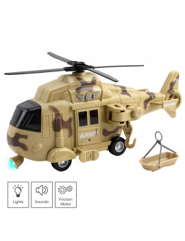 Vokodo Military Helicopter 11 With Lights Sounds Push And Go Includes Rescue Basket Durable Toy Friction Power Kids Army Soldier Chopper Pretend Play Truck Great Gift For Children Boys Girls Toddlers