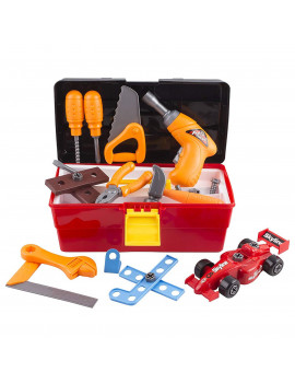44 Piece Toy Tool Set Portable Construction Kit Includes Electric Drill Hammer Wrench Screwdriver And F1 Car Realistic ToolBox Educational STEM Great Pretend Play Learning Gift For Children Boys Girls