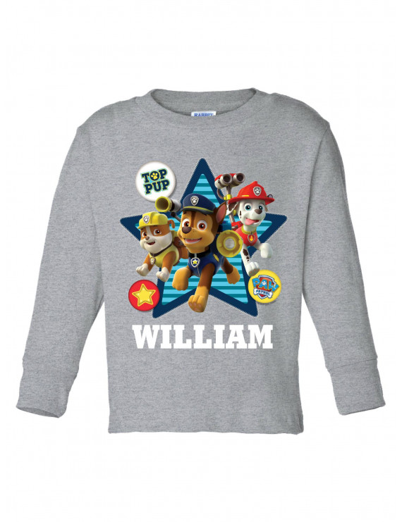 Personalized PAW Patrol Toddler Top Pup Gray Long Sleeve Tee