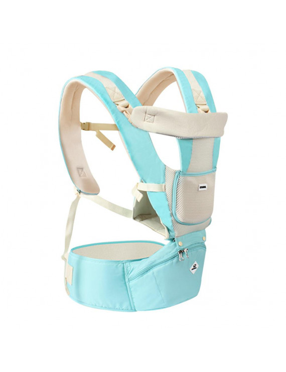 Baby Carrier with Hip Seat Multi-functional Baby Backpack Breathable All Season Sling(Light Green)