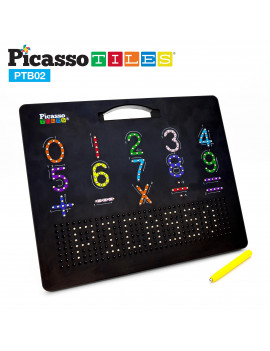"PicassoTiles Large 12""x10"" Magnetic Drawing Board Letters and Numbers PTB02-BLK"