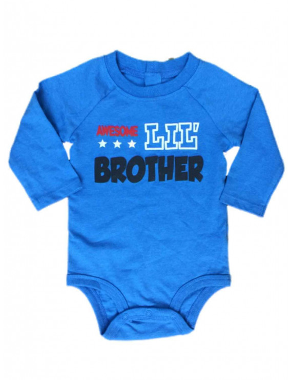 Infant Boys Awesome Lil Brother Bodysuit Baby Outfit Blue Creeper 3-6m