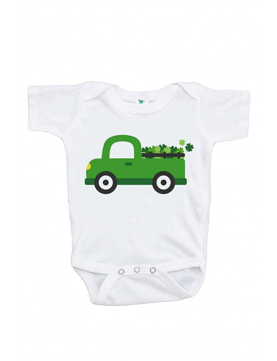 Custom Party Shop Baby's Green Truck St. Patricks Day Onepiece - Green / 6-12 Month Onepiece