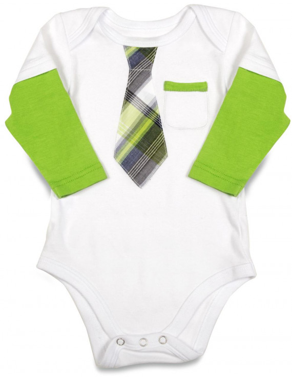 Pavilion- Green Long Sleeved Tie Bodysuit 6-9 Months