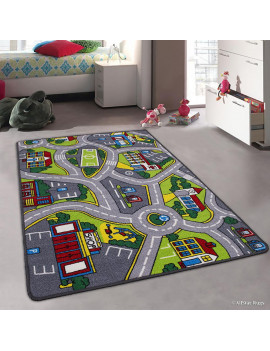 """Allstar Kids / Baby Room Area Rug. Street Map with Light Blue Vibrant Colors (3' 3"""" x 4' 10"""")"""