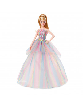 Barbie Signature Birthday Wishes Doll, Approx. 12-In Blonde In Rainbow Dress