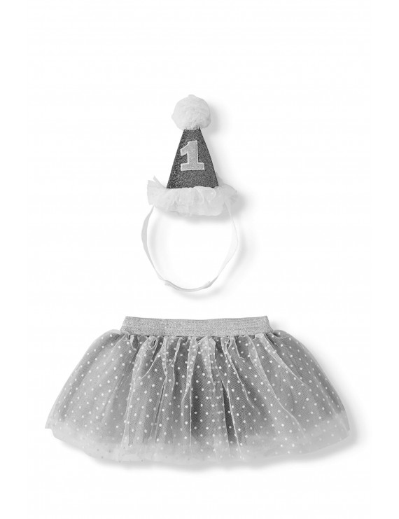 Wonder Nation Baby Girls Party Hat and Tutu, 2-Piece Baby's First Birthday Outfit Set