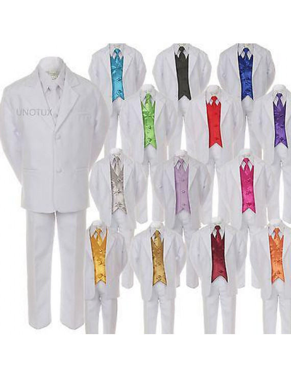 7pcs Boys Formal Wedding White Suits Tuxedo Vest Necktie Sets Outfits All Sizes