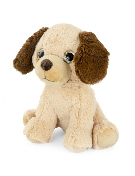 Super Soft Plush Corduroy Cuddle Farm Sitting Dog Stuffed Animal Toy, 9 inch Adorable Farm Animal with Glitter Eyes
