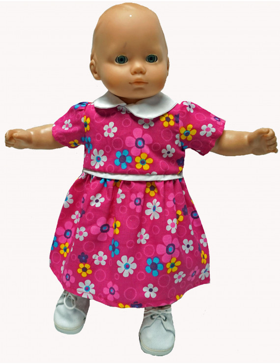 Doll Clothes Superstore Rose School Dress With Flowers Fits 15-16 Inch Baby Dolls