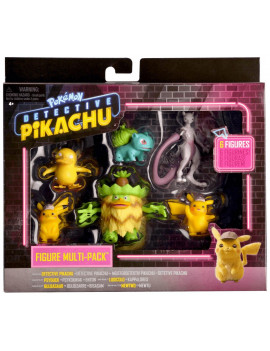 "Pokemon Detective Pikachu 6 Figure Multipack- Two 2"" Detective Pikachu figures 