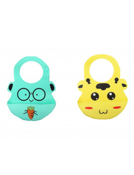 (Pack of 2) Most Hygenic Silicone Baby Bib with Cute Characters, Yellow Cow + Green Carrot by Baby Classic
