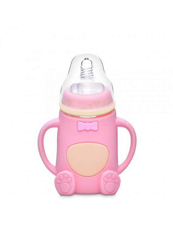 Platube Baby Glass Bottle Cute Bear Shaped Wide Neck Silicone Handle Anti-Colic Drop Resistance Feeding Bottle Drinking Cups 240ml
