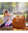 Akoyovwerve Diaper Bag Backpack Convertible Travel Tote Diaper Bag Pu Leather Waterproof Nappy Bag Baby Diaper Backpack