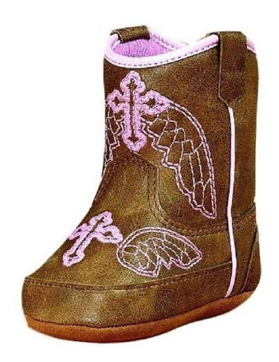 m&f western baby girl's baby bucker gracie (infant/toddler) brown/pink boot 2 infant m