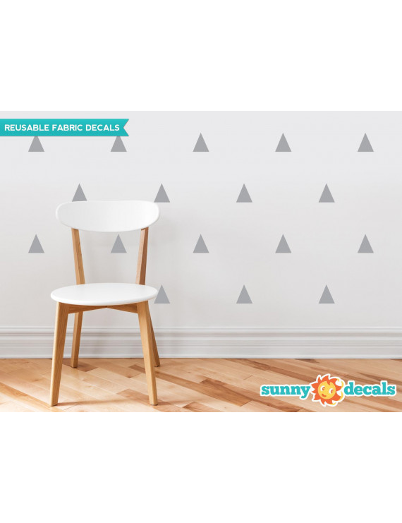 Triangle Fabric Wall Decals - Set of 32 Triangles - Triangle Pattern Decor - 19 Color Options-Beige/