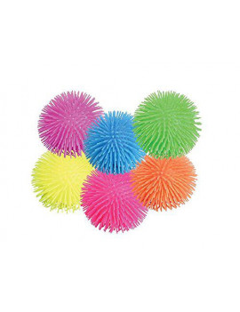 "12 Set Of 5"" Assorted Color Puffer Squishy Pon Pon Ball Party Favor Classic Toy"