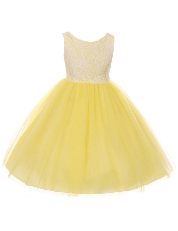 Little Girls Sleeveless Lace Tulle Princess Party Birthday Flower Girl Dress Yellow Size 2 (K414D)