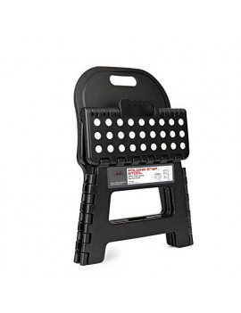 Acko Folding Step Stool with back for children,Anti-Slip and Easy Cleaning,Perfect height for Toddler Toilet Training or Kids Bathroom and Kitchen 10inch Black Color