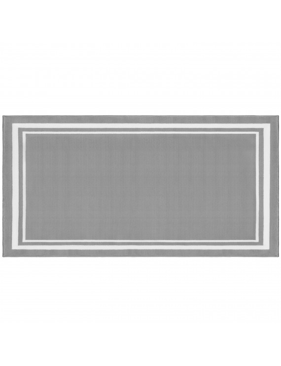 """Evolur Home Nursery Rug 55'x31.5"""" in Dove Grey with White Border"""