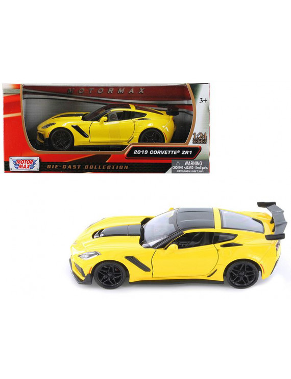 2019 Chevrolet Corvette ZR1 Yellow with Black Accents 1/24 Diecast Model Car by Motormax