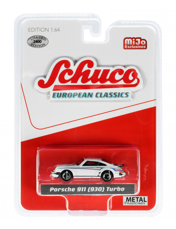 """Porsche 911 (930) Turbo White """"European Classics"""" Series Limited Edition to 2,400 pieces Worldwide 1/64 Diecast Model Car by Schuco"""