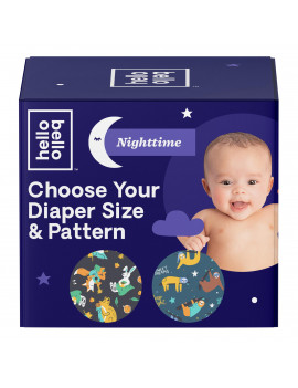 Hello Bello Overnight Club Box Diapers - Snoozy Sloths & Sleepy Campers - Size 4 (68ct)