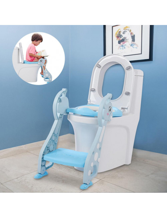 Cute Deer Armrest Ladder Potty Chair for Baby Boy Kids Toddler Training Soft Toilet Seat Blue, Kids Toilet Seat, Step Toilet Seat