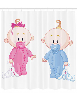 Gender Reveal Decorations Shower Curtain, Cheerful Boy and Girl with Bunny Pacifiers Twins, Fabric Bathroom Set with Hooks, 69W X 70L Inches, Light Blue and Pink Peach, by Ambesonne
